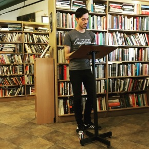 Tyler McAndrew reading at East End Book Exchange. His poetry is featured in Issue 9