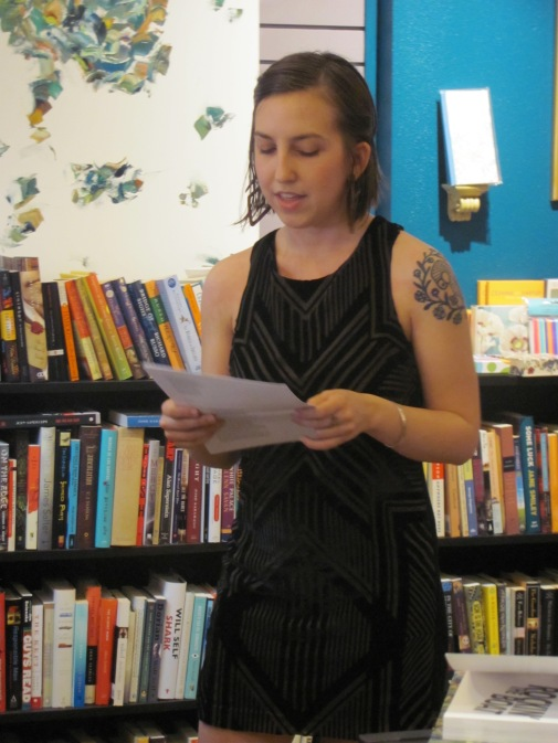 Stephanie Cawley reading her poetry at Classic Lines bookstore.